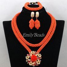Fashion Beads Jewelry Set Nigerian Wedding Coral Beads Jewelry Sets Costume African Jewelry Sets 2016 New Free Shipping CJ659