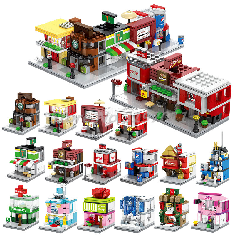 Macdonalds Building Blocks Famous Shop Swarovski Barbershop New Street View Series Model DIY Toys For Children