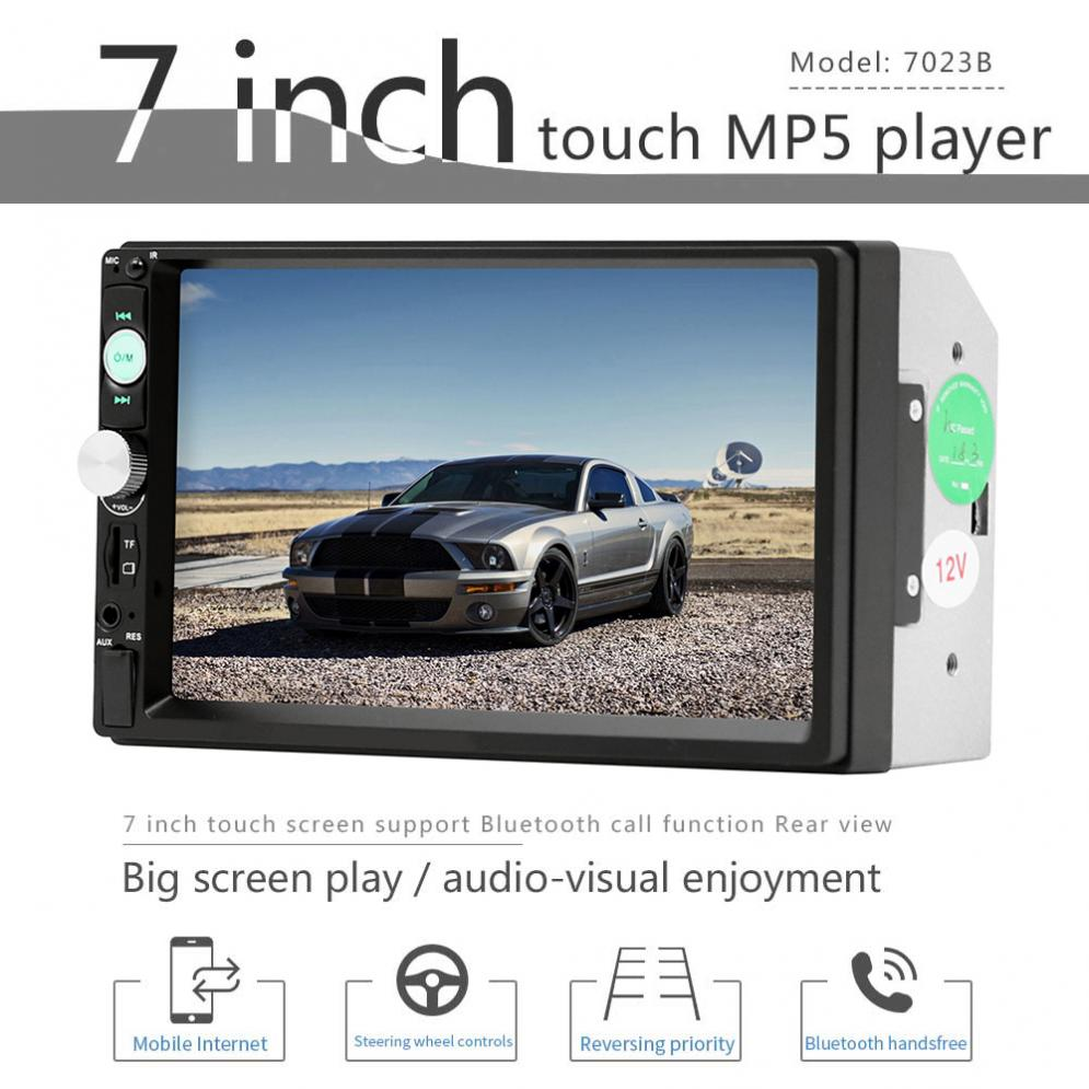 7 Inch Bluetooth 2 DIN In Dash Car Video Radio Stereo Player Support Aux In/Rear View Camera for iPhone and Android Mirror Link