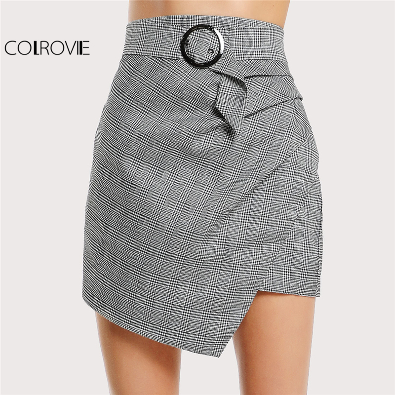 COLROVIE 2017 Asymmetric Hem Belted Grey Plaid Skirt High Waist Wrap Elegant Skirt With Zipper Women Short Ruched Skirt