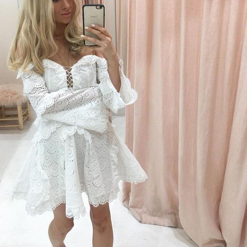 Manches White Pour Robe Marque Marée Nouvelle Vacances Bustier Femmes Et Printemps Slim D'été À Longues 2019 Australien q8wvna
