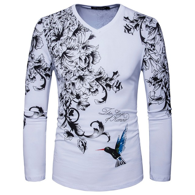 436b543e8e8 New Arrived Men Long Sleeve V Neck Print Flower Designer Casual T Shirt  Fashion White Black Slim Cotton T Shirt S-XXL D065