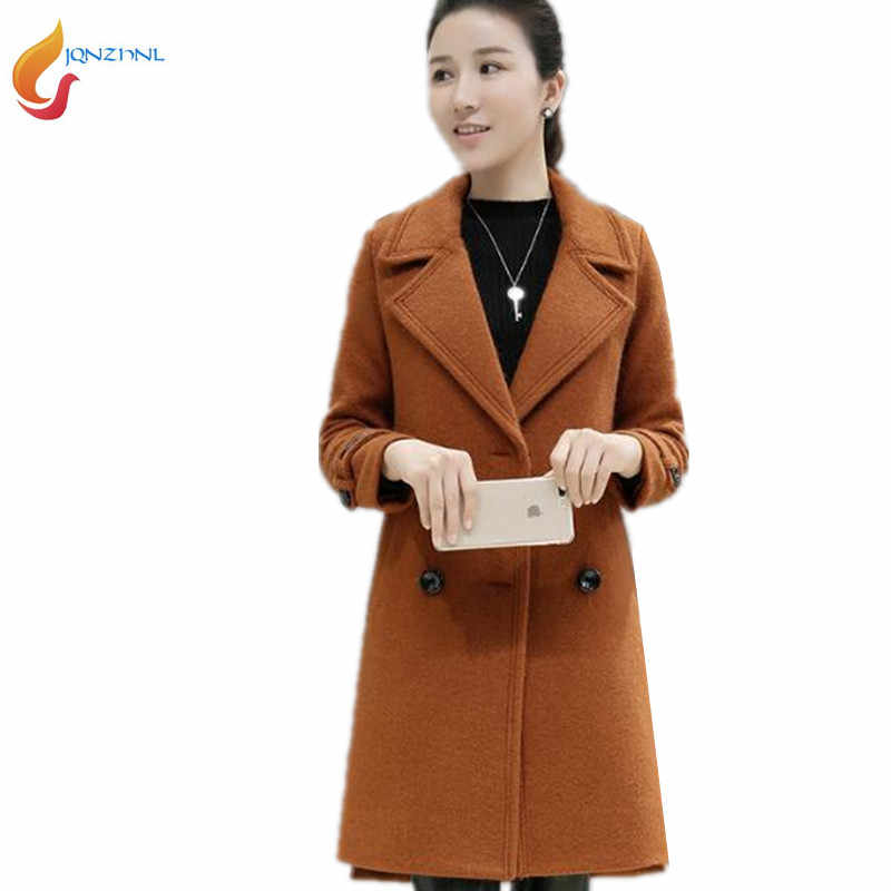 Plus size 3XL Fashion Winter Wool Coat Women Tops High Quality 2019 New Solid color Woolen Jacket Long Cashmere Womens Coat G443