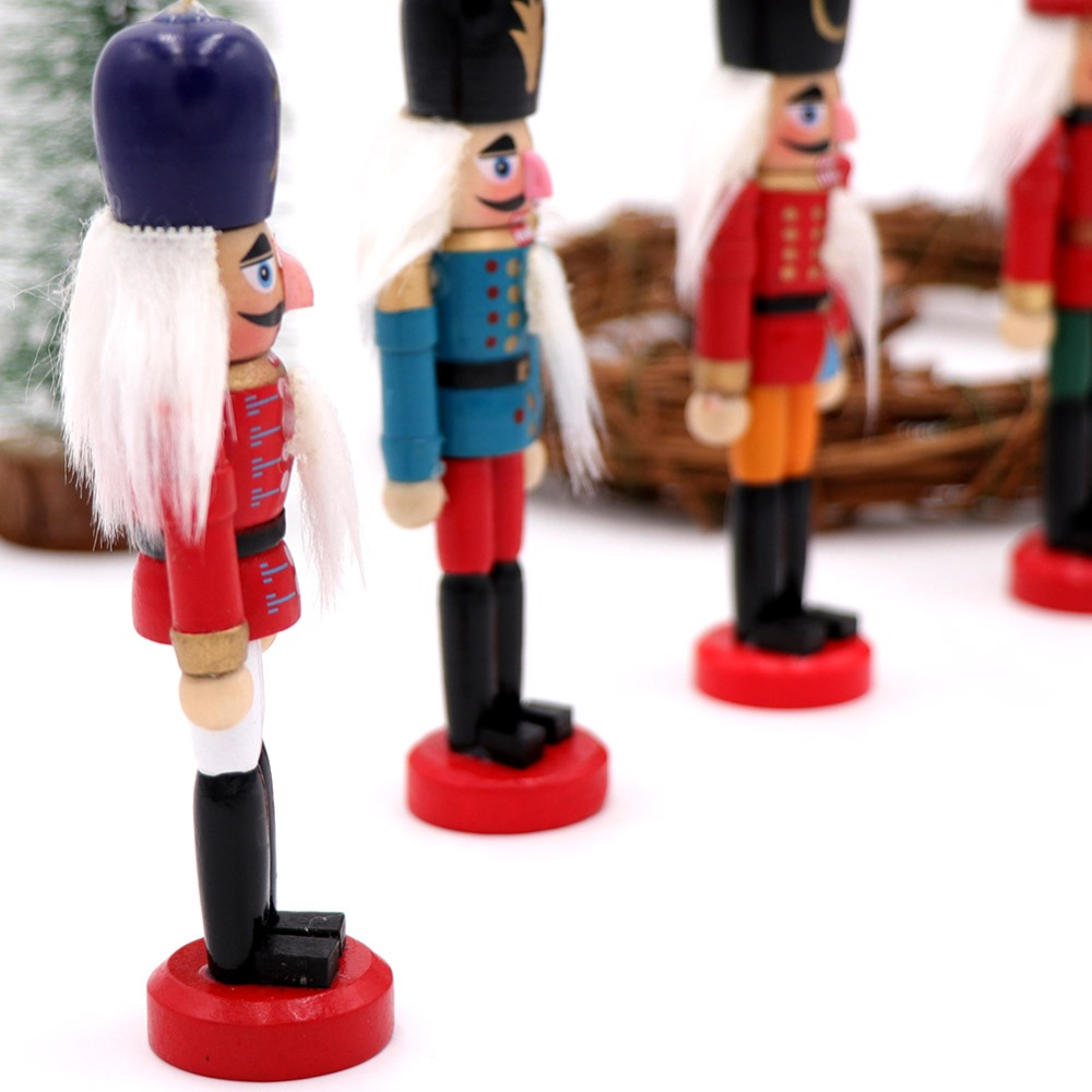 OurWarm 6Pcs 12cm Wooden Nutcracker Christmas Tree Hanging Ornaments Desktop Decoration Walnuts Soldiers Band Doll New Year Gift in Pendant Drop Ornaments from Home Garden