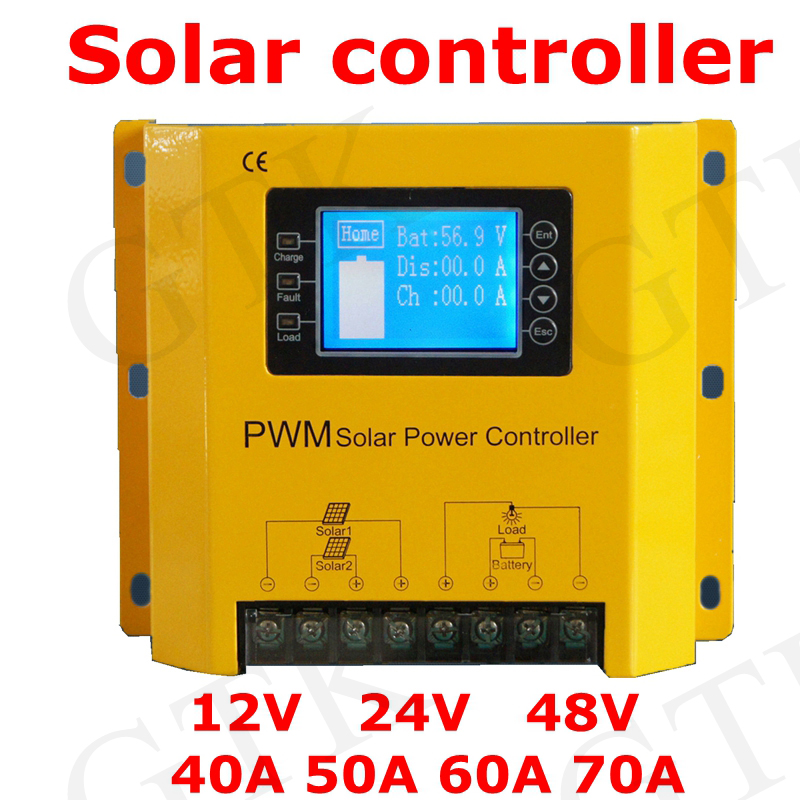 Consumer Electronics Solar Charge Controller 12v 24v 48v 40a 50a 60a Automatic Photovoltaic Solar Panel Battery Street Light Lcd Screen Display Pwm Chargers