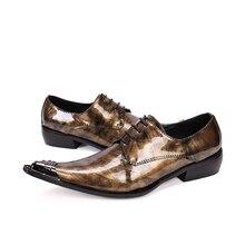Золотые Мужские Туфли Квартиры Натуральная Кожа Свадебные Туфли Мужчины формальные Бизнес Обувь Мужчина Oxfords Обувь для Работы Плюс Размер 38-46