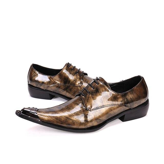 d8f8c1d33d Ouro Dos Homens Se Vestem Sapatos Flats Genuínos Casamento Sapatos de Couro  Dos Homens Sapatos Homem