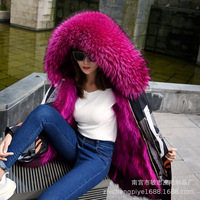 New winter mink fox fur inner gallbladder group overcame the wholesale sale of long Parker coat in fur coat real fur parka wome