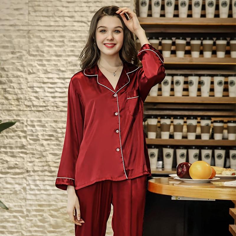Burgundy   Pajamas     Set   Women   Pajamas   Suit Female Sleep   Set   Sexy 2PCS Sleepwear Silky Feel Shirt&Pant New Nightwear Home Wear