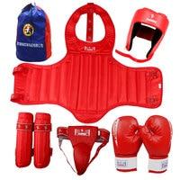 High Quality MMA kick boxing protectors suit blue color men women taekwondo fighting chest shin groin protectors Helmet 5pcs