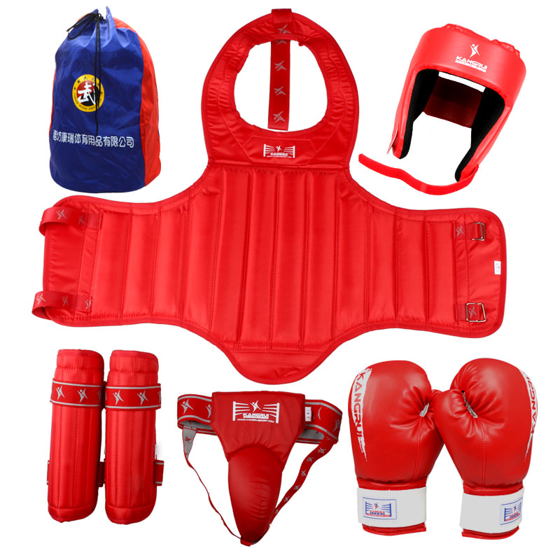 High Quality MMA kick boxing protectors suit blue color men women taekwondo fighting chest shin groin protectors Helmet 5pcs mma 300 5 20