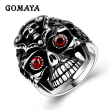 GOMAYA 316L Stainless Steel Red Zircon CZ Skull Ring Mens Boys Biker Rock Punk Style Unisex Fashion Jewelry Anillos