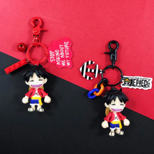 2019 One Piece Keychain Cartoon Luffy Key Chain PVC Pendant Anime Accessories Ring