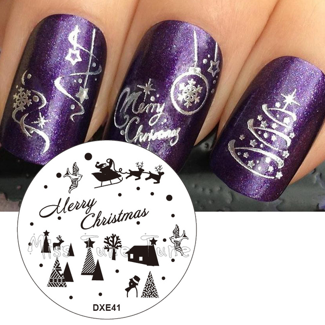 Xmas Nail Art Stamp Templates Stamping Plates Christmas Tree ...