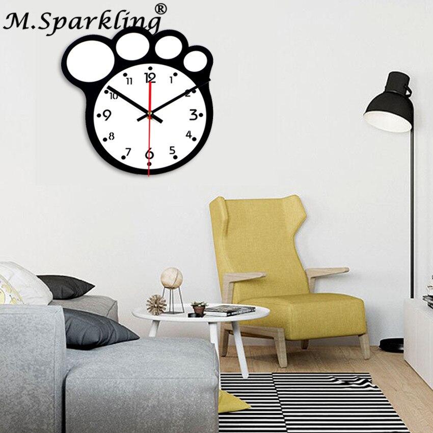M.Sparkling Black White Acrylic Home Decor Wall Clocks Modern ...