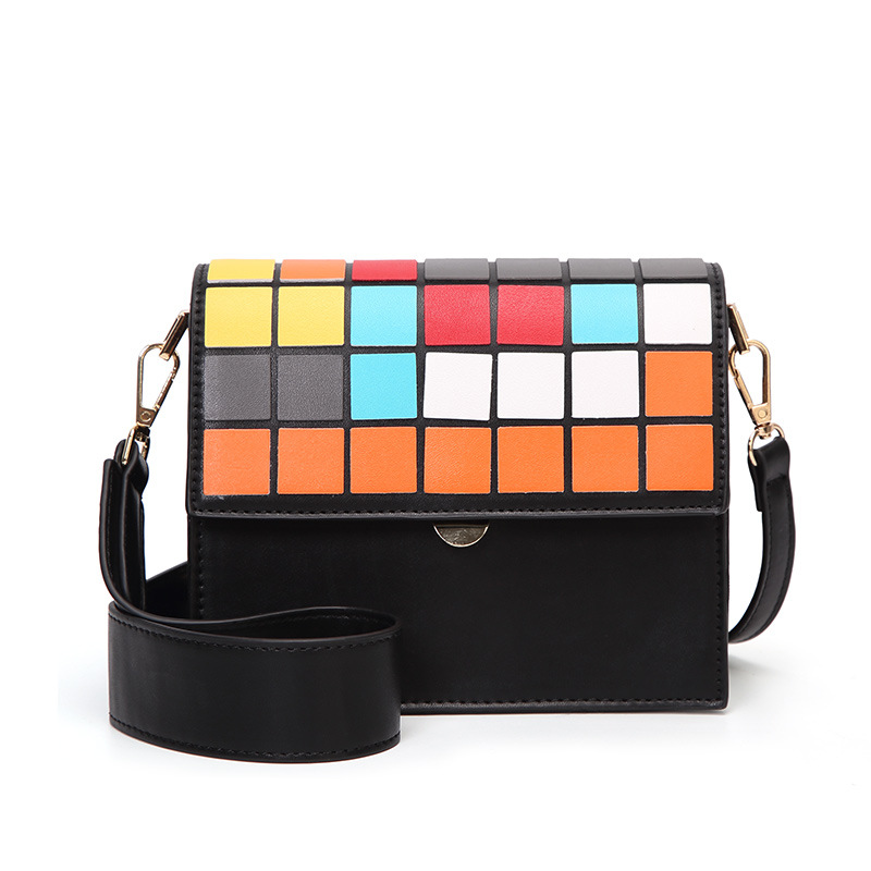все цены на The New Spring And Summer 2018 Color Mosaic Block Diagonal Square Shoulder Bag PU Handbag Women BaoBao Bags