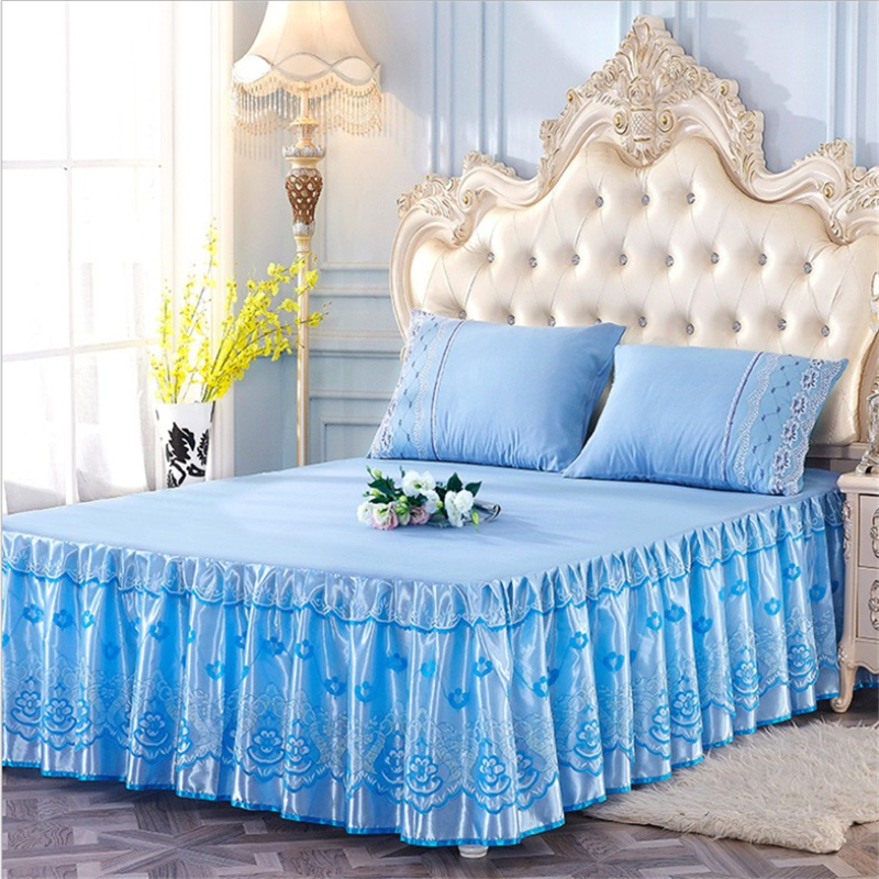 Luxury bed skirt silk princess bedding sets queen king Lace ruffle bed skirt ruffle bedspread bed cover set bedspreien sale
