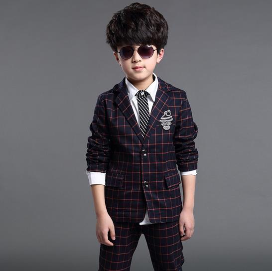 2018 Yeni Moda İsti Satış Böyüyən Uşaqlar Oğlanlar Plaid - Uşaq geyimləri - Fotoqrafiya 3