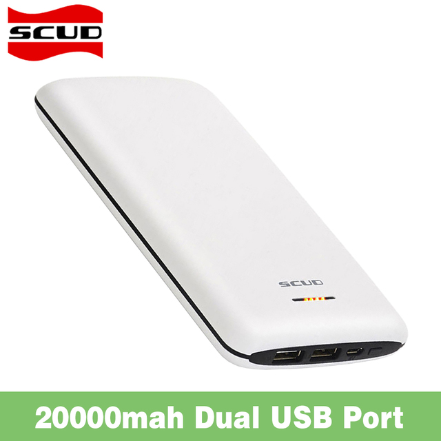 Scud 20000mAh Dual USB Polymer Powerbank External Battery Charger Backup For iPhone 6s 7 Samsung Xiaomi Phone Tablet Power Bank