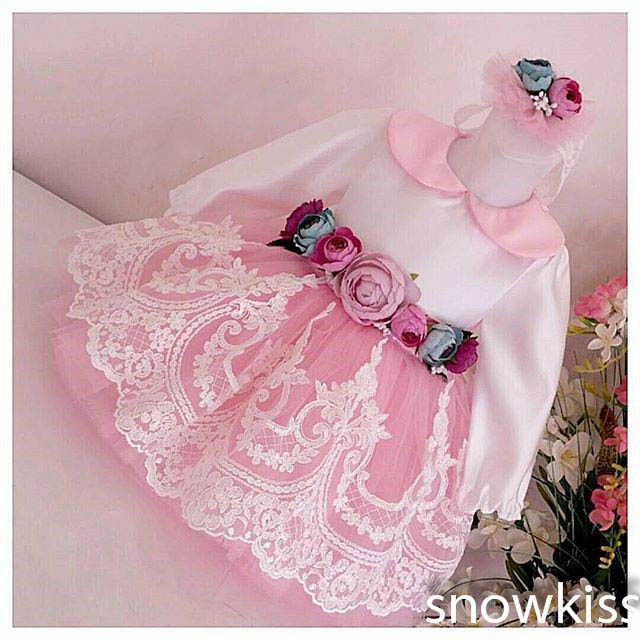 New Elegant Long Sleeves Knee-Length Blush Pink flower girls dresses glitz pageant dresses baby Birthday Party Dress ball gowns new arrival 2017 children party dress for girls 2 to 10 years beauty glitz cupcake pageant special occasion dresses baby