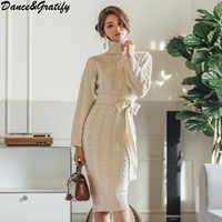 Nowy 2018 zima kobiety moda golf długa sukienka do łydki pani sweter z dzianiny wąska obcisła praca w biurze Vestidos Mujer
