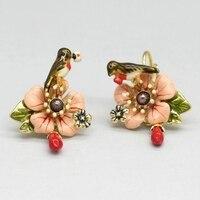 France Les Nereides Enamel Glaze Copper Cute Trendy Pink Flower Bird Gem Women Earring Hook