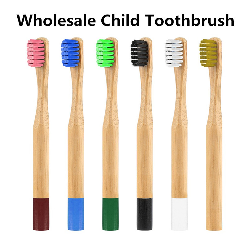 Wholesale Price 6 Colors Eco-friendly Bamboo Toothbrush Soft Bristle Child Toothbrush Anti Bacterial Bristles Toothbrush