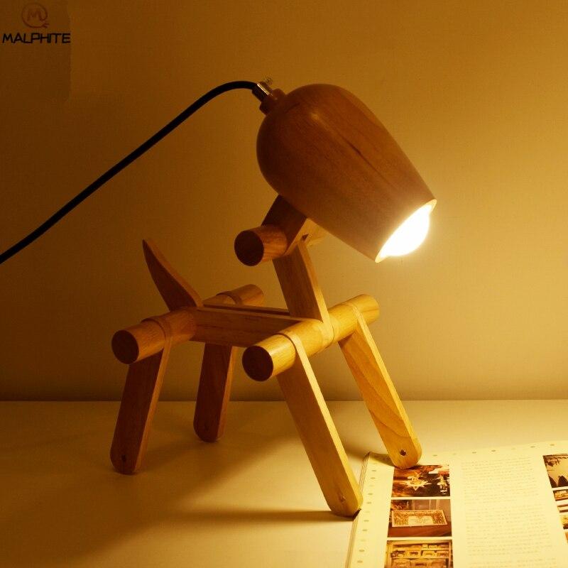 モダンな木製リトル犬テーブルライト創造的人格の寝室のベッドサイドランプの研究木製テーブルランプデコ LED 照明器具 -