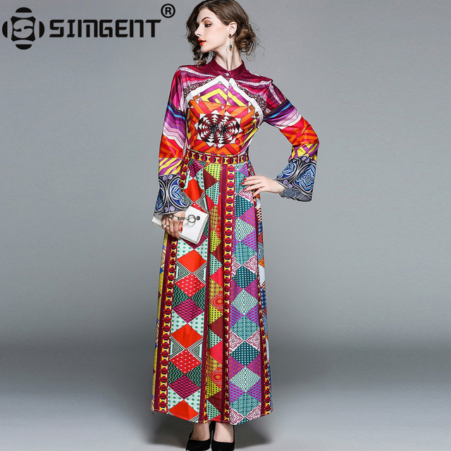 b92aa12cd64c5 US $27.24 35% OFF|Simgent Womans Spring Elegant Flare Sleeve Stand Collar  Colorful Geometric Printing Maxi Dress Women Clothing Vestidos SG8313-in ...