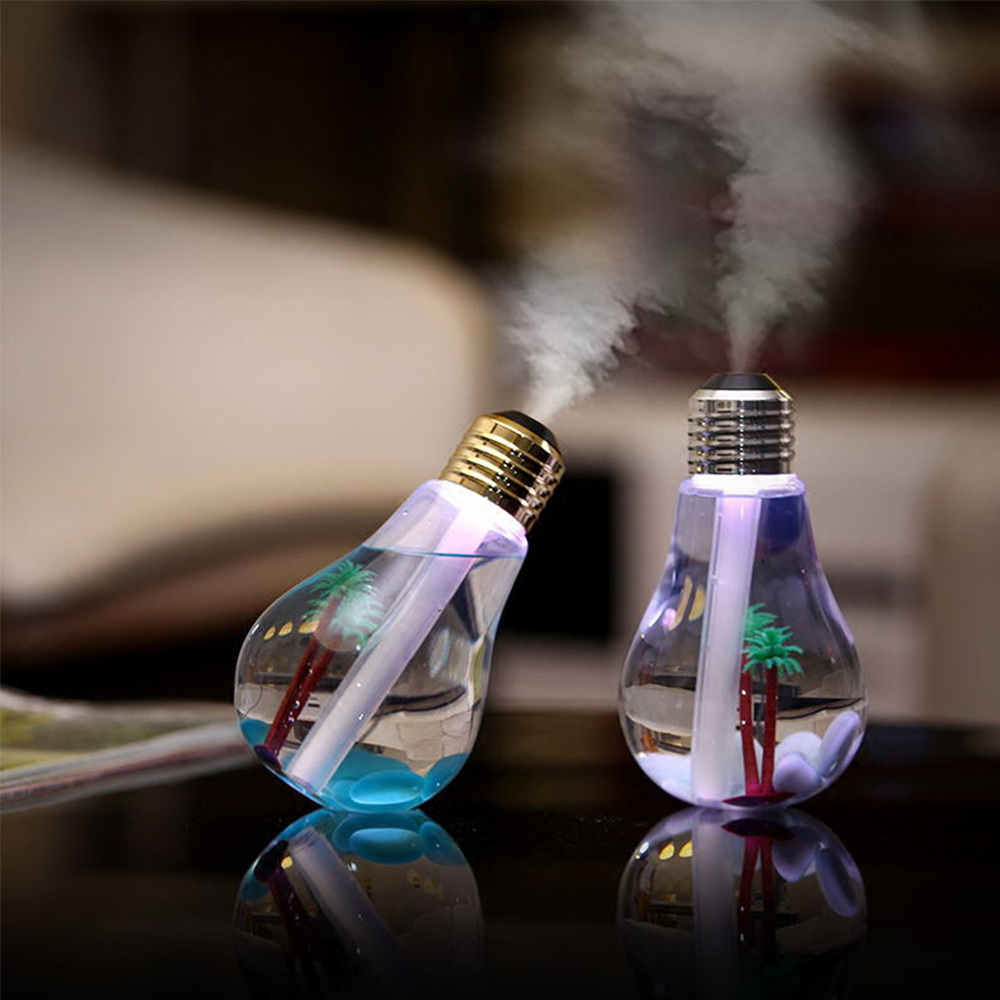 Aroma night lamps - Usb Humidifier Mini Bulbs Shape With Multi Color Changing Lamp Colorful Bulb Landscape Night Lights