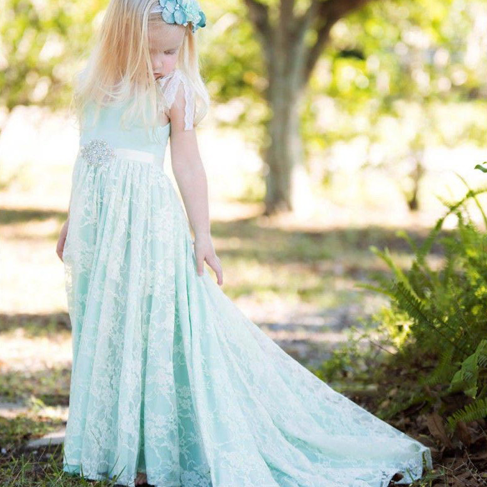 Mint Flower Girl Dresses A-Line Pageant Dresses with Long Train Kids Wedding Party Dresses Christmas Dress 0-12 Years Old 2017 mint high low flower girl dress for wedding with long train crystals ball gown kids 1st birthday party outfits baby dresses