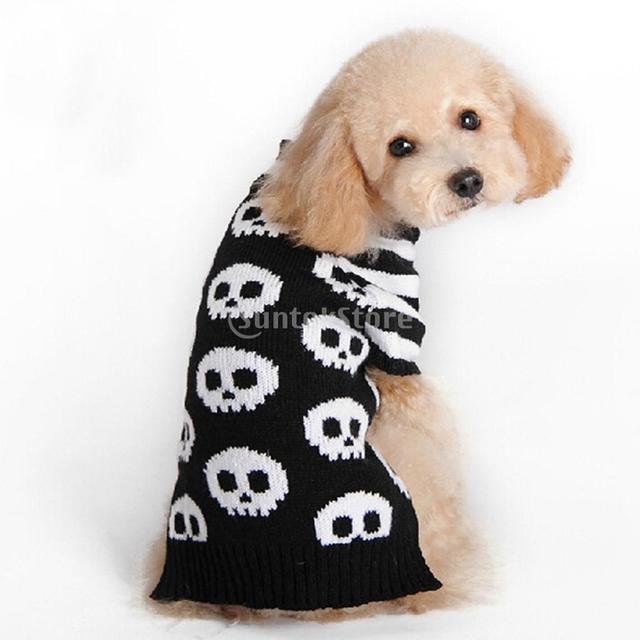 Blanco esqueleto hueso patrón perro suéter perro ropa en Jerséis ...