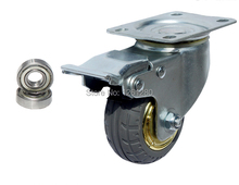 Бесплатная доставка 75 мм кастер сплошной резиновых шин тележки колеса кастер немой круглые колеса маленькая тележка медицинская кровать колеса