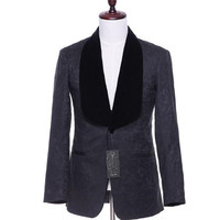 Men's casual jacket cardigan two buttons black floral pattern Slim wedding dress business prom ball coat size custom made
