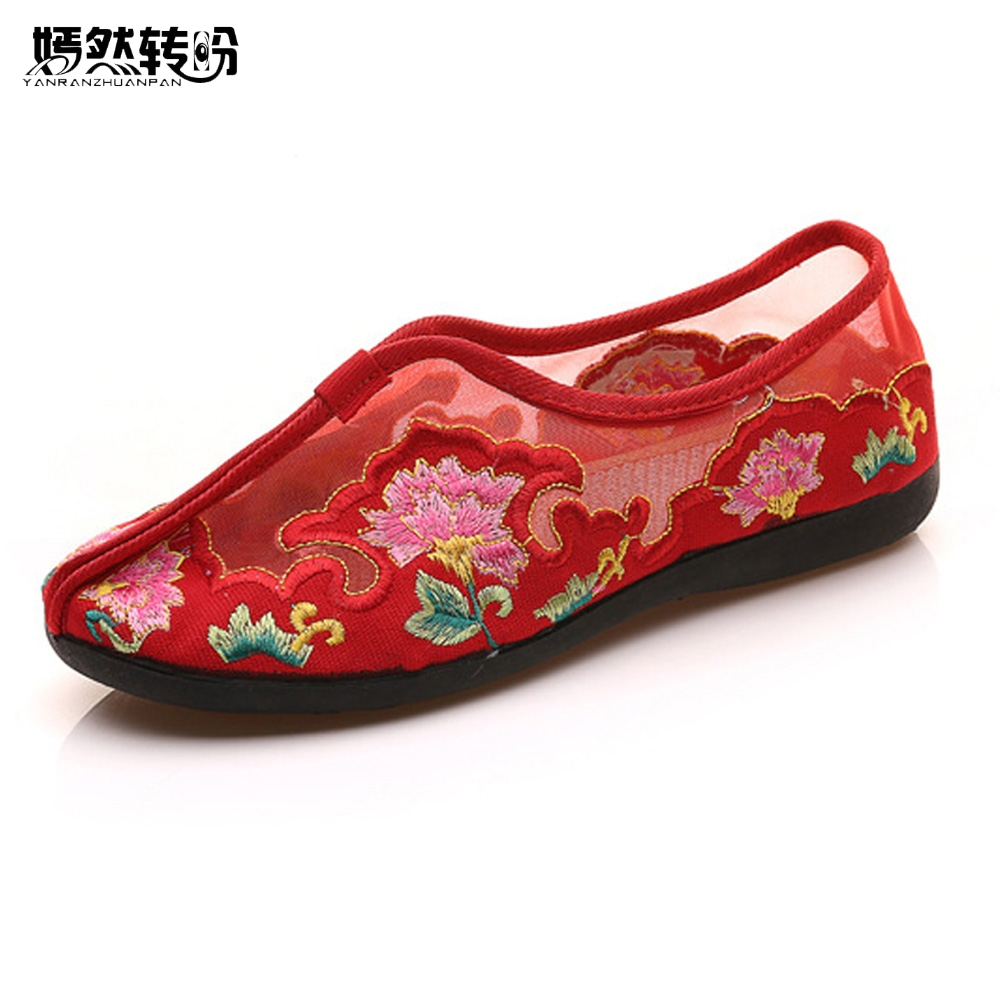 Chinese Women Flats Summer Embroidery Shoes Gauze Floral Casual Soft Canvas Dance Drive Shoes Woman Ballet Zapatos Mujer flexible canvas ballet dance shoes stretch mesh girls children women soft sole ballet flats dance shoes for ballet