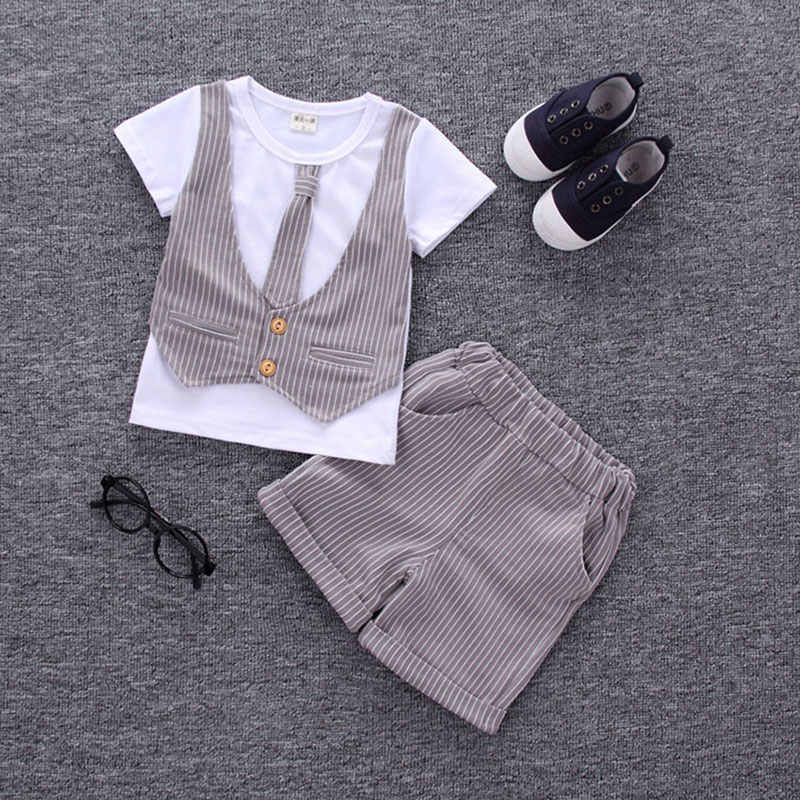 b7937f6c5d593 ... Baby Boy Clothing Set Summer Formal Newborn Clothes for Wedding and Party  Suits Infant 1 Year