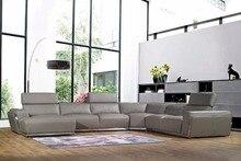 cow genuine leather sofa set living room furniture couch sofas living room sofa sectional/corner sofa U shape shipping to port