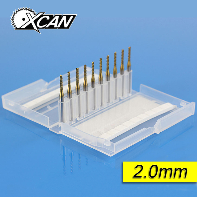 XCAN 10PCS Titanium coated 2.0 mm PCB milling cutter CNC Rotary Burrs metal working router cutter dremel drill bits