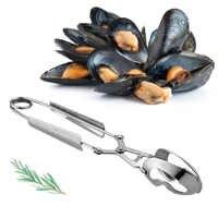 Multi Uso Oyster Raccoglie Cibo di Clip Pinze Servire Utensili Resistenza Al Calore Lumaca Frutti di Mare Antiruggine Facile Presa In Acciaio Inox Argento