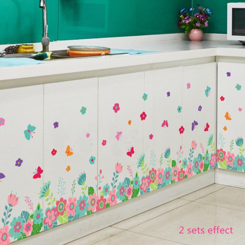 Us 468 Schöne Bunte Kleine Blume Schmetterling Baseboard Wand Aufkleber Zimmer Badezimmer Eingang Flur Schrank Dekoration Vinyl Aufkleber In Schöne