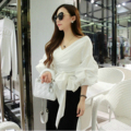 2016 spring and summer slim bow  lantern sleeve  shirt V-neck female cotton  three quarter sleeve top