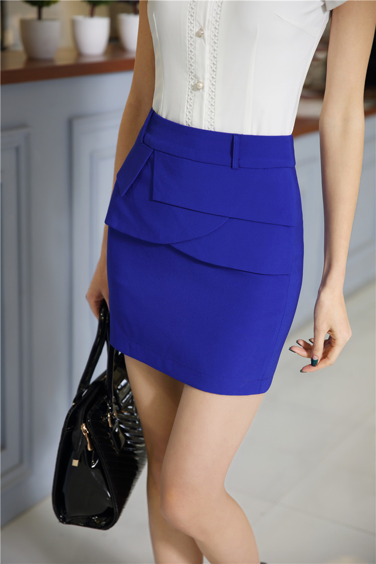 New Novelty Blue 2015 Summer Short Skirt Formal Uniform -1502