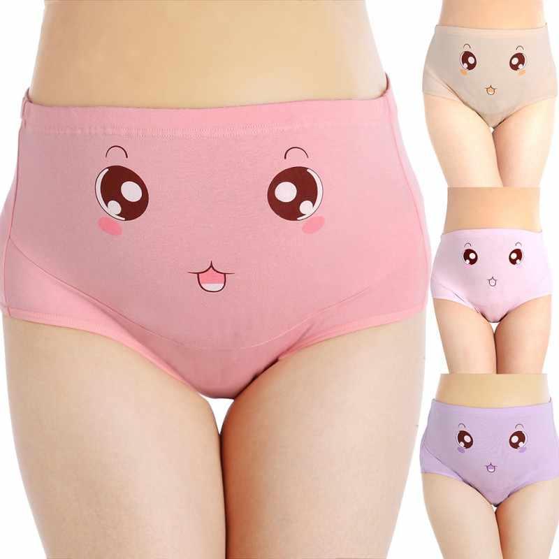e216cc45c81 ... Cotton Panties High Waist Adjustable Waist Circumference Pregnant Women  Stomach Lift Panties Big Eyes Light Powder ...