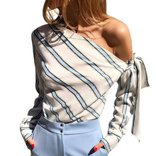 Women New Striped Loose Blouse Fashion Lady Off Shoulder Lace Up Shirts