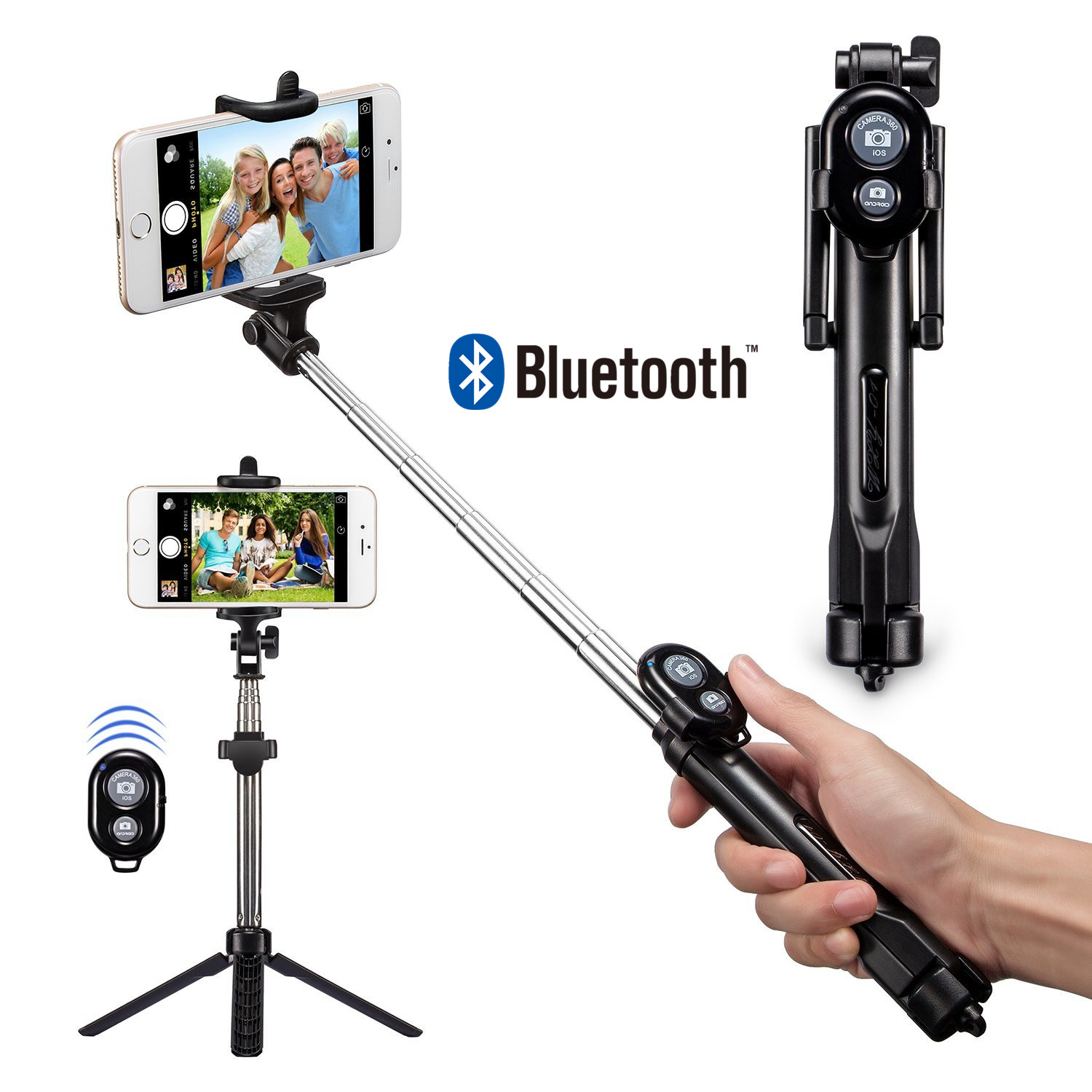 FGHGF T1 Pliable Bluetooth Obturation Selfie Bâton + Trépied Manfrotto Bâtons Télécommande Support à bluetooth bouton