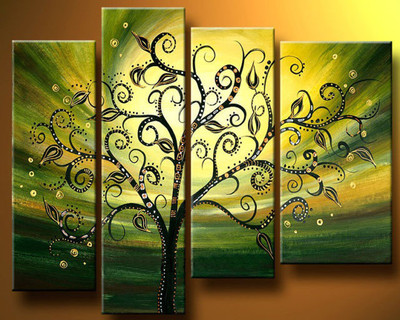 pictures Gold green background tree Wall Decor canvas NO frame.hand ...