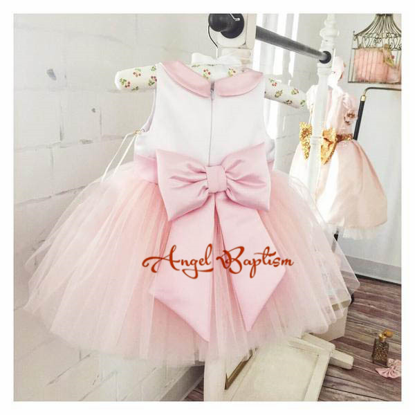Cute Short Pink and white flower girl dresses peter pan collar knee length baby girls summer dress 1st birthday outfit with bow sweet peter pan collar button back women s tank top