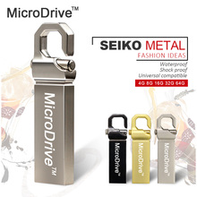 2017 New brand MICRODRIVE 32gb Stainless Steel USB Flash Drive 4gb Pen Drive 8gb 16gb Flash Drive USB 2.0 Memory Stick Pendrive(China)