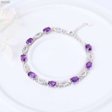 wholesale trendy 925 sterling silver natural purple cryatal amethyst adjustable charm beaded bracelet  for women