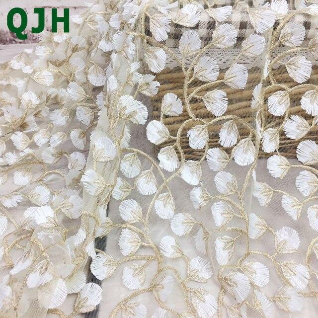 בדי תחרה ורקמת חוטי זהב המעודן 5y 3D, באיכות גבוהה לבן העמודים רשת אביזרי חתונת שמלת בד רקום